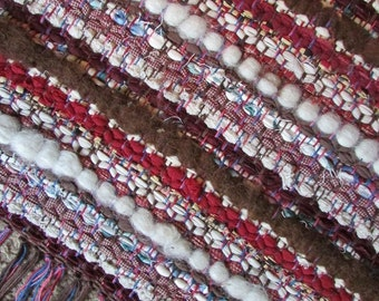 Dusty Rose Red Woven Rug with Alpaca