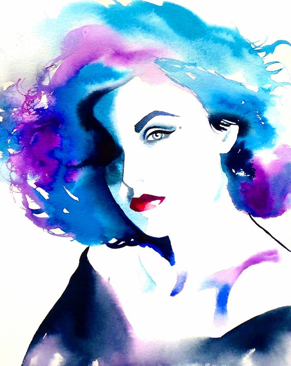 Fashion illustration audrey original watercolor painting portrait blue