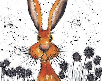 HARE IN FLOWERS h2381  -  Size A4 - printed on extremely good quality textured paper