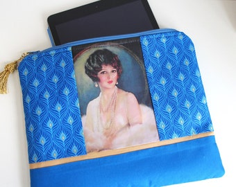 Blue Gold Padded Zippered Pouch for IPad Tablet EReader