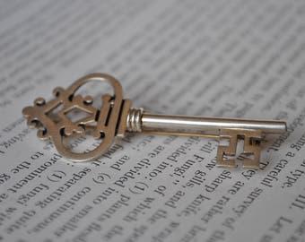 Vintage Sterling Key Brooch - 1950s Signed Taxco Skeleton Key Pin
