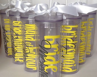 Set of 8 Personalized Bachelorette Party Skinny Tumbler Acrylic Tumbler Tall Wedding Cup