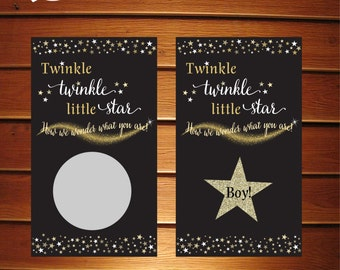 Twinkle Twinkle Little Star Gender Reveal Scratch Off Cards • Chalkboard Baby Shower • Set of 10