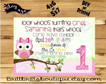 girl owl Invitation first Birthday party Invitations Custom Birthday invite 4x6 or 5x7 Digital OR Printed with envelopes