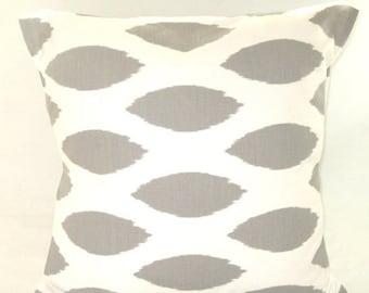 """CLEARANCE Pillow Cover, Decorative Throw Pillow, Pillow, Throw Pillow, Decorative Pillow, Nursery, Couch, Pillow, 1 - 18"""" x 18"""" Gray Ikat"""