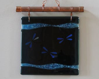 Fused Glass Wall Hanging - Dragonflies