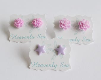 3 Pairs of Assorted Purple Resin Earring