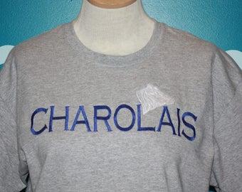 Embroidered Charolais cow t-shirt - Custom Cow embroidered Shirt - Charolais cattle t-shirt - Custom embroidered t-shirt - Plus Size t-shirt