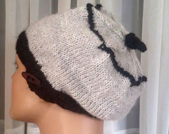 Hand-knit all-natural black gray alpaca tam   beret with cabled band   alpaca hat in black and gray   light winter tam   luxury alpaca