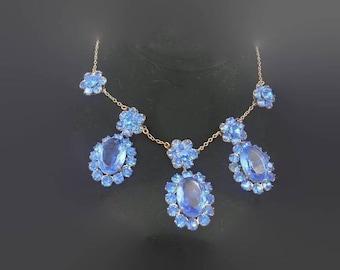 Gorgeous Art Deco Swiss Blue Topaz Czech Glass Bib Necklace