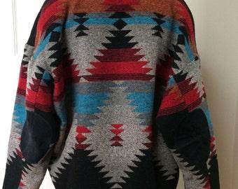 Vintage 80s Southwest Indian Blanket Coat Pioneer Wear Jacket Wool Blend Navajo USA