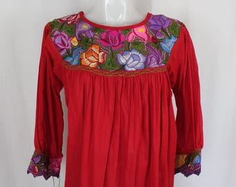 Frida Style Colorful Mexican Blouse with Embroidered Flowers- MEDIUM- 100% Cotton Gauze- Summer-BOHO-Hippie- Red