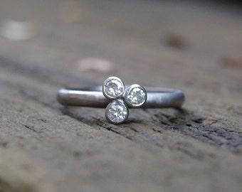 Three stone palladium moissante ring, moissanite engagement ring