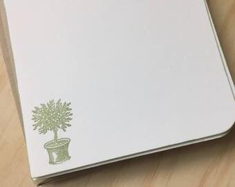 potted tree note cards, botanical stationery set, vintage inspired, tree stationery set, potted plant stationery set.