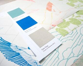 Samples of Handprinted Wallpaper
