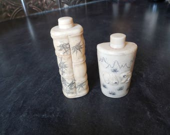Vintage Set of 2 Bone Carved Asian Snuff Bottles with Spoons