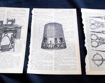 Set of 3 Dictionary Art Prints Vintage Retro Sewing Room Book Art Decor Sewing Machine Thimble Scissors Seamstress