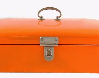 Vintage antique Dutch bread box  orange enamel