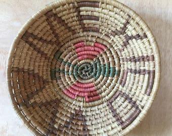Hand Woven Grass Basket Tray Mexico Mexican Souvenir Boho Home Wall Decor Centerpiece