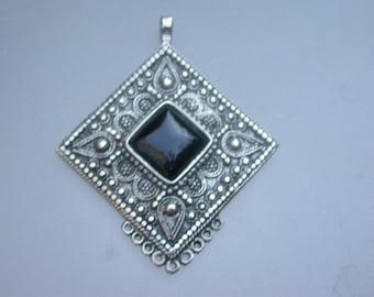 huge silver   pendant  engraved  ornate flower  ethnic jewelry black  cabochon large ethnic pendant bronze based