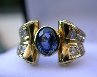 French antique Art deco white Diamond blue sapphire  18k solid gold Ring yellow gold diamond large tank ring France Paris large diamond 7