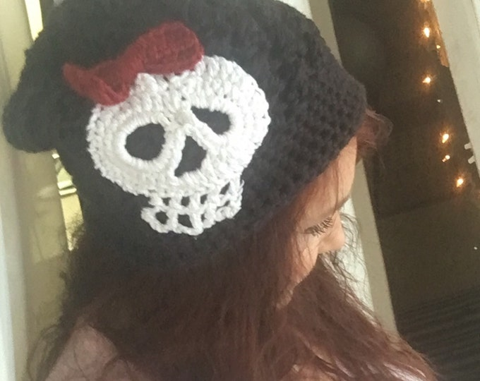 Skull Slouchy Beanie Hat