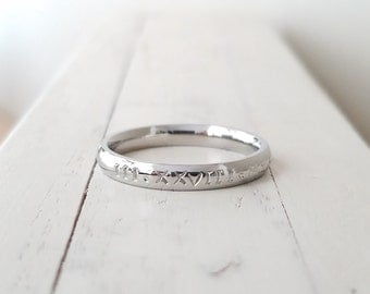 Roman Numeral stacking ring  3mm roman numeral Ring Hand Stamped stacking ring Stainless Steel hypoallergenic comfort anniversary ring