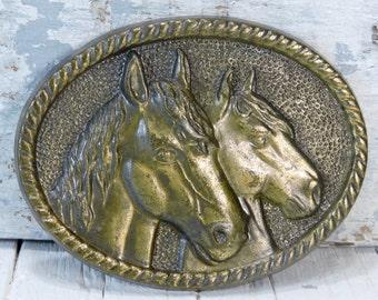 Vintage Belt Buckle: Two Brass Horse Head Buckle Accessory Western Wear Style Design Cowboy Belt Buckle Horse Lover Gift Horse Lover Gift