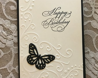 Handmade greeting card; birthday card, black, butterfly, black and white