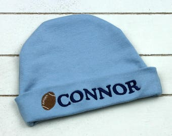 Monogrammed Baby Hat - Personalized Infant Hat - Baby Cap - Football - Beanie - Baby Boy Cap