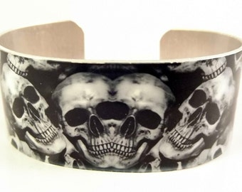 Skull Cuff, skull and crossbone, cuff bracelet, skull jewelry, skull,sublimated, sublimation