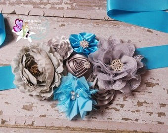Gray Turquoise Blue Sash, Maternity Sash, It's a Boy Sash, Maternity Belt, Wedding Sash - SBS-013