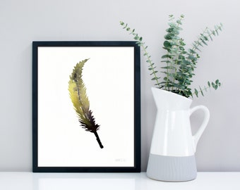 Minimalist art print,  Feather art work from original painting. Bird feather art print. Modern handpainted minimalistic feather wall art