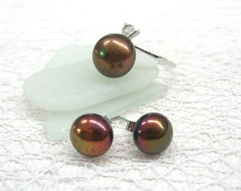 Brown pearl ring earrings set Girlfriend jewelry gift for her boho chic Vintage jewelry solitaire rings pearl ring pearl studs post earrings