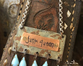 Junk queen - hand stamped - necklace