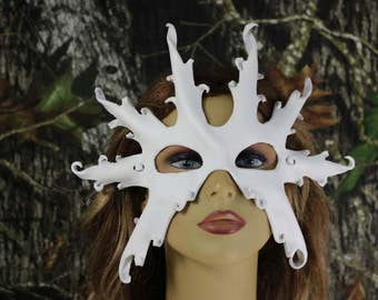 leather white snow flake mask