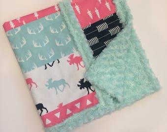Woodland Moose Toddler Minky baby Blanket