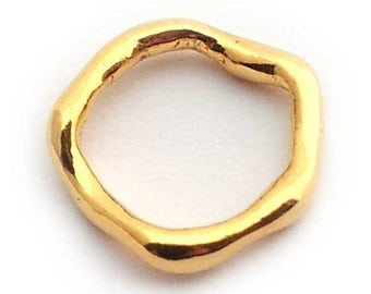 wavy gold on sterling silver ring , organic gold vermeil circle connector , irregular gold on silver ring , natural gold ring connector .