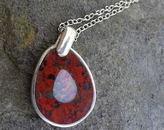 Australian Opal Necklace - Australian Opal Necklace - Opal Jewelry - Handmade Australian Opals