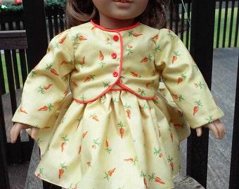 American Girl Dress.Yellow with jacket