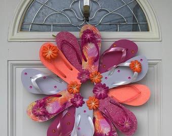 Front Door Wreath / Beach Wall Decor / Flip Flop Wreath