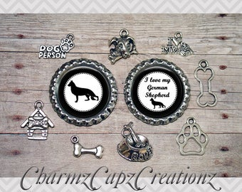 10pc German Shepherd Dog Charm Set/Lot/Collection with Bottle Caps /Jewelry, Scrapbooking, Crafts/Jewelry and/or Crafting Kit /Choose Images