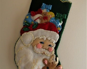 Retired, Complete Bucilla Christmas Stocking  Santa & Deer