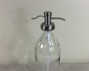 Cider Bottle Soap Dispenser Bathroom Kitchen Pump Clear Glass large laundry 32 oz spray refillable reuse container cleaning liquid shampoo