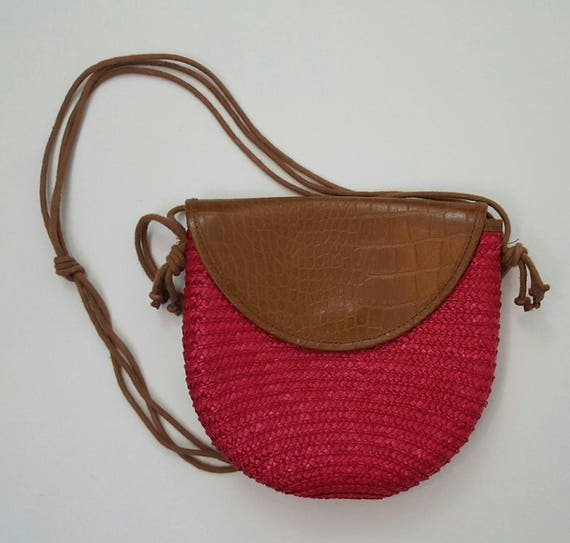 Vintage 1970s Red Straw Over the Shoulder Womens Bag - Red and Brown Womens Accessory - Faux Alligator Print Front Flap - 70s Vintage