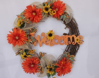 Welcome Wreath/ spring/summer/ orange flowers/ sun flowers/welcome plaque