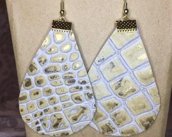 Handmade Leather Earrings, calf skin, Stamped, One of a Kind
