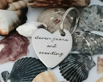 eleven years and counting - Stainless Steel Heart Keyring - 11th Anniversary - Personalised Heart Keychain - Steel Wedding Anniversary Gift
