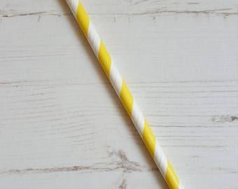 25 Striped Paper Straws - Yellow