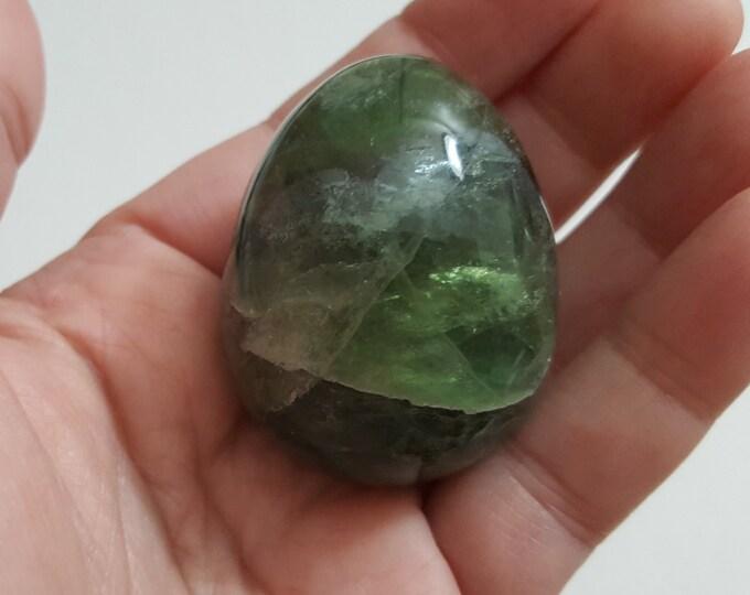 Rainbow Fluorite (Yoni) Egg ~One medium/large 35x45mm Reiki infused polished crystal egg with stand (EG131)